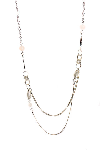Double Layered Interlink Chain Long Necklace with Crystal Ball in silver