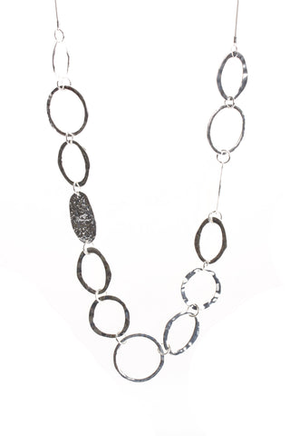 Multiple Circle Interlink Chain Long Necklace in Silver