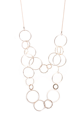 Multiple Circle Interlink Chain Layered Long Necklace in Rose Gold