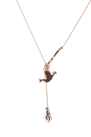 Swallow Bird Charm Long Necklace in rose gold