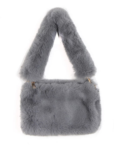 Small Soft Faux Fur Shoulder Bag with Furry Strap