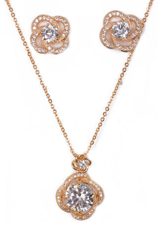 Flower Cubic Zirconia Necklace & Earring Sets