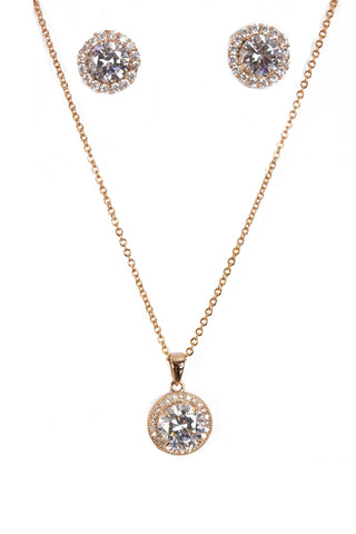Round Cubic Zirconia Necklace & Earring Sets in Rose Gold