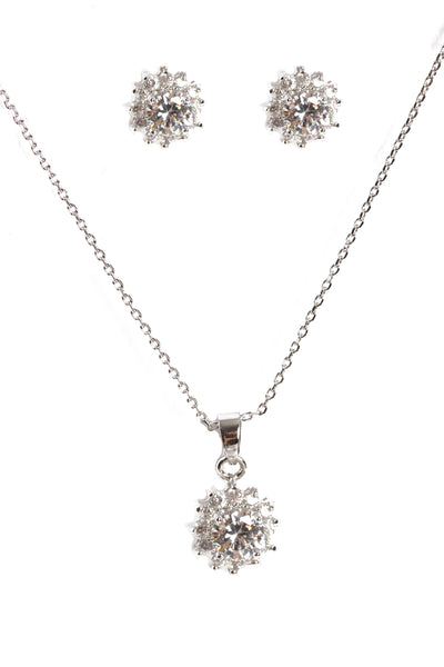 Cubic Zirconia Necklace & Earring Sets in SIlver