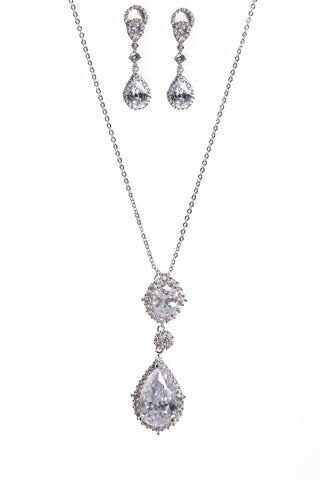 Tear Drop Cubic Zirconia Necklace & Earring Sets in Silver