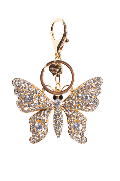 Butterfly Diamante Bag Charm Keyring