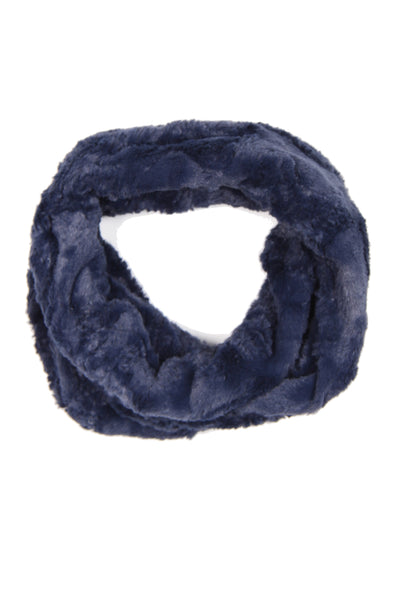 Wave Textured Soft Faux Fur Snood in navy
