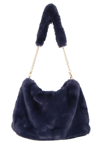 Soft Fluffy Faux Fur Bag with Fur Strap