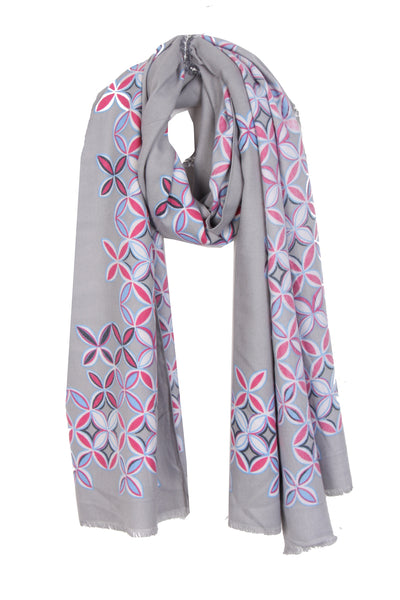 Geometric Floral Print Cashmere Feel Wooly Scarf