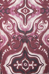 Tile Swirl Print Cashmere Feel Wooly Scarf in wine