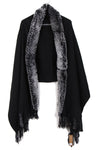 Fur Cashmere & Wool Shawl Wrap in black