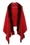 Fur Cashmere & Wool Shawl Wrap in red