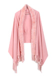 Fur Cashmere & Wool Shawl Wrap in pink