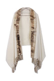 Fur Cashmere & Wool Shawl Wrap in beige