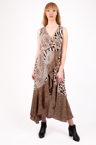 V Neck Chiffon Leopard Print Frill Maxi Dress