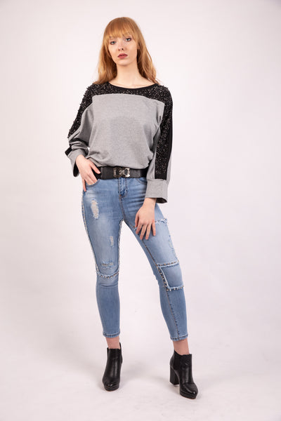 Pearl Diamante Detail Shoulder Top