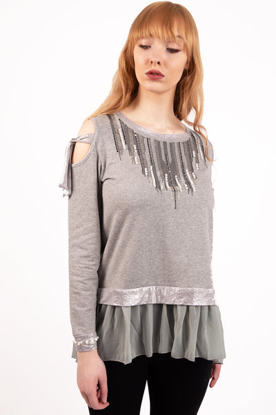 Cold Shoulder Pearl And Diamante Embellished Top with Frills