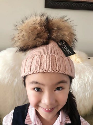 Blush Pink Kid Detachable Double Luxury Fur Pom Pom Beanie Hat