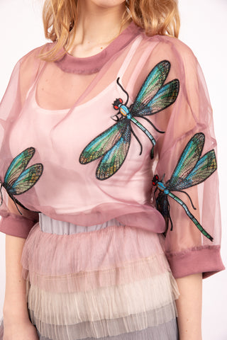 Loose Fit Mesh applique Dragonfly top