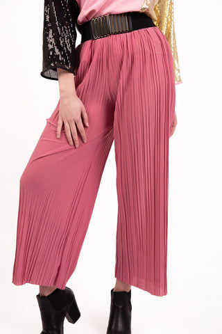 Full Length High Waist Elasticated Pleated Culotte Trouser