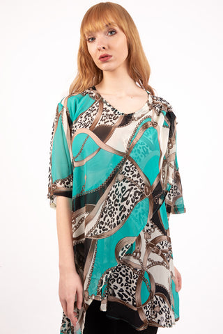 Oversized Chiffon Leopard And Chain Print Contrast Top