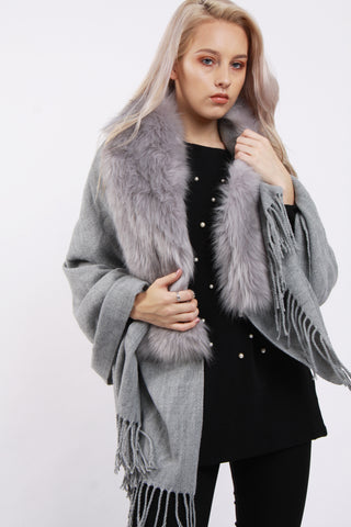 Faux Fur Collar Fringe Shawl/Scarf