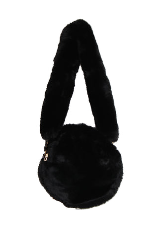 Fluffy Soft Faux Fur Circle Bag With Fur Strap