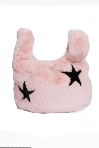 Baby Pink Ultra Soft Fluffy STARS Faux Fur Tote Bag