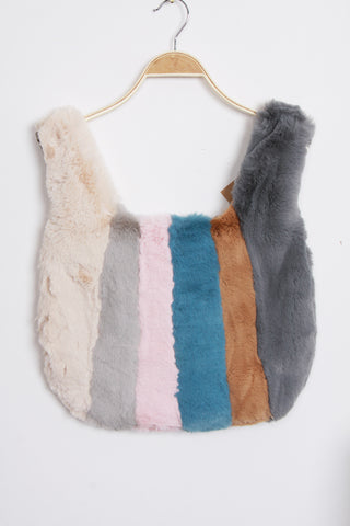 Power Blue MultiColour Ultra Soft Fluffy Faux Fur Tote Bag