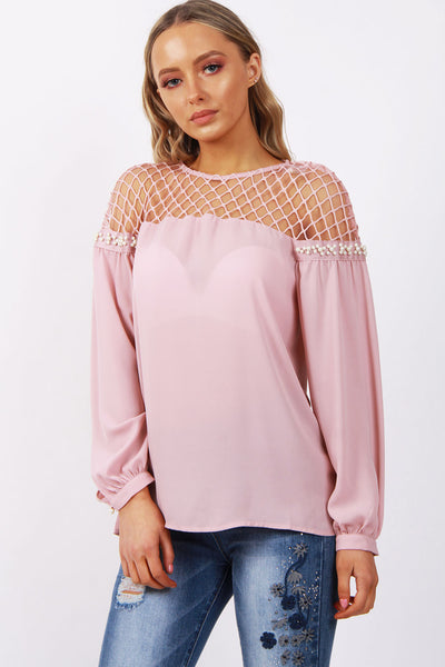 Fish Net Pearl Arm Blouse Top