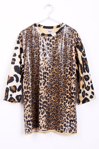 Leopard Print Sequin Tunic Top