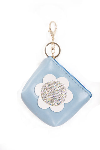 Leather Look Flower Diamante Zip Purse Bag Charm Keyring