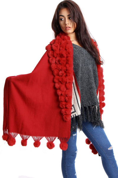 Cashmere & Wool Shawl With Multiple Fur Pom Poms