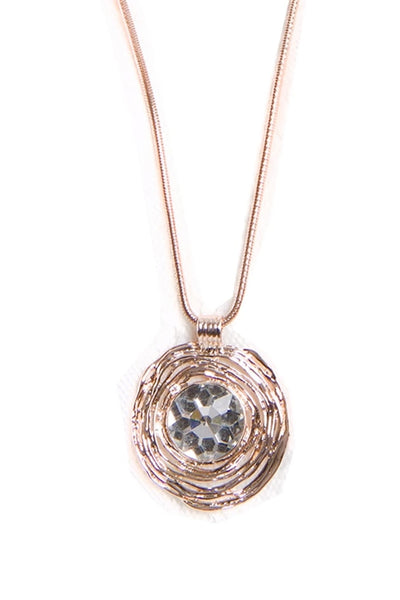 Metal Circle Gem Pendant Boho Statement Necklace in Rose Gold