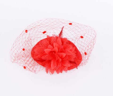 Flower Mesh Net Fascinator in Red