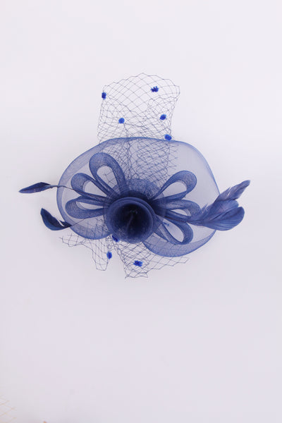 Flower Feather Mesh Fascinator in navy for wedding