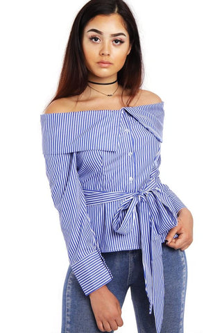 Cold Shoulder Big collar Shirt