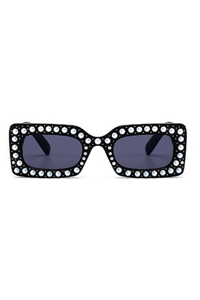 Pearl Detail Square Plastic Sunglasses