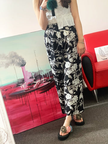 Black & White Lightweight Silky Trousers
