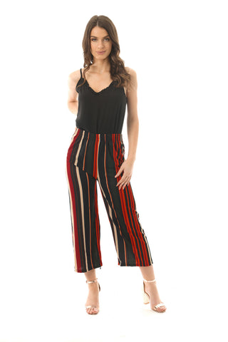 black and red stripe stretch culotte trousers