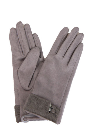 Soft Faux Suede Gloves With Button Detail