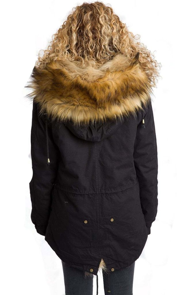 a2bd7ae979d5 ... Oversized Thick Faux Raccoon Fur Trim Hooded Parka Coat Jacket ...