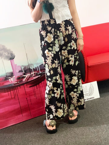 Black Floral Print High-rise elasticated waist Trousers