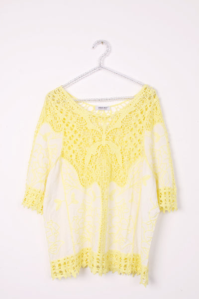 Lace Top with Embroided Panels