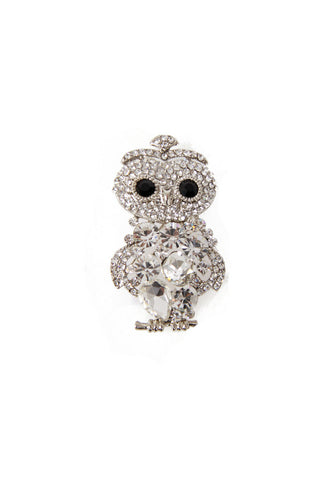 Owl Diamante Brooch in silver