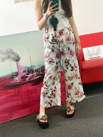 Pink Floral High Waist Elasticated Wide Leg Trousers