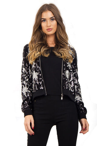 Black Floral Sequin Zip Jacket