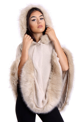 Cable Knitted Hooded Fur Trim Poncho Cape