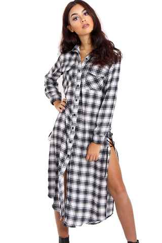 Check Print Maxi Shirt Dress with Side Lace Up Detail