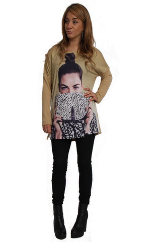 Diamante Long Sleeve Jumper With Face Print